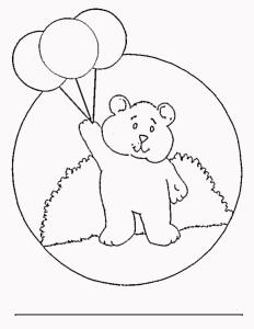 Balloon Bear Colouring Page
