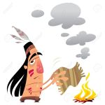 20561025-cartoon-indian-man-sending-a-message-by-smoke-signals-moving-a-small-carpet-over-a-fire