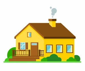 Cartoon yellow house with brown roof and door. Flat vector illustration.